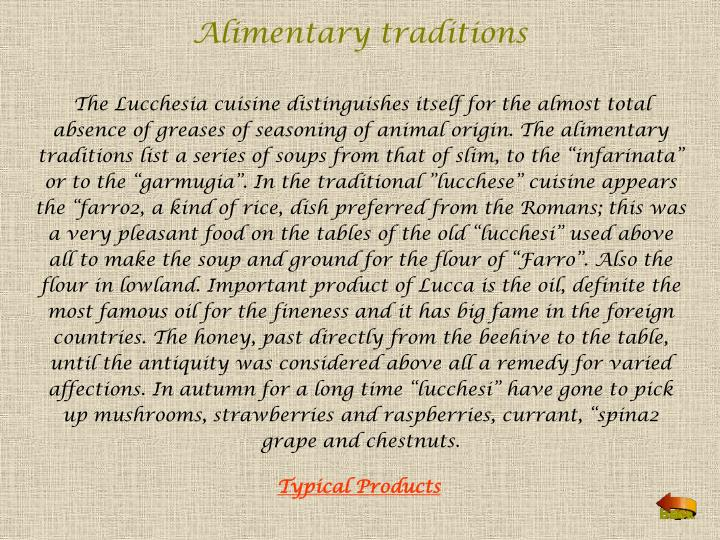 Alimentary traditions