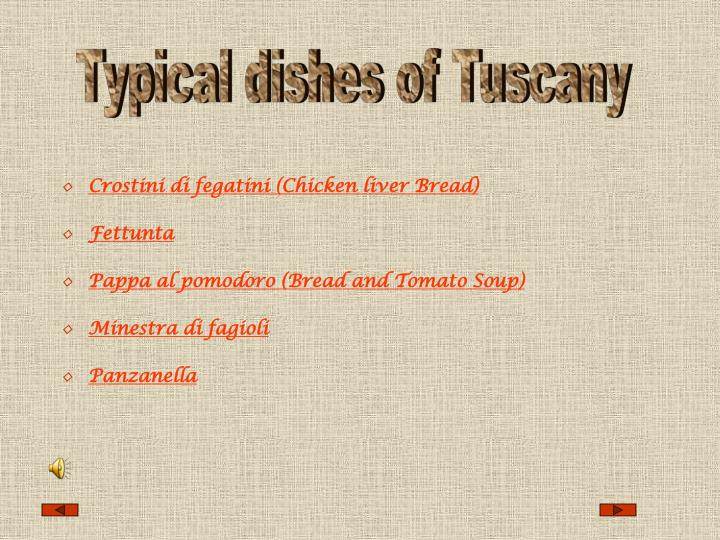 Typical dishes of Tuscany