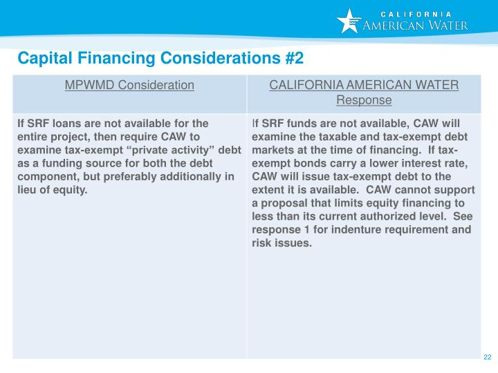 Capital Financing Considerations #2
