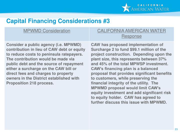 Capital Financing Considerations #3