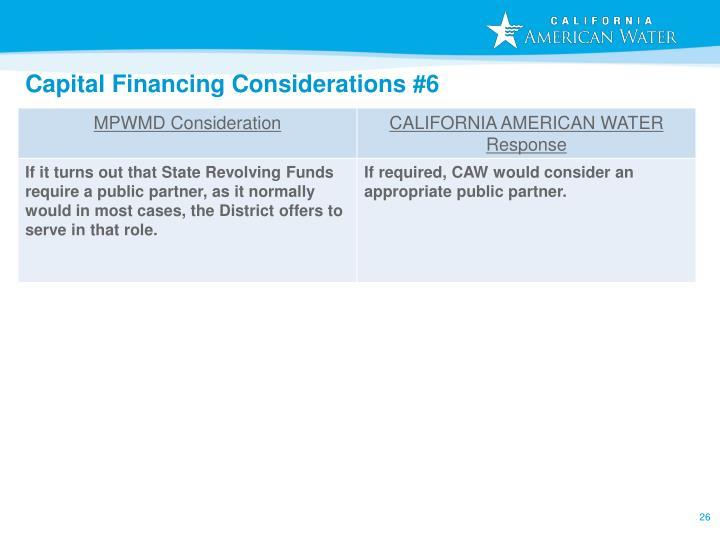 Capital Financing Considerations #6