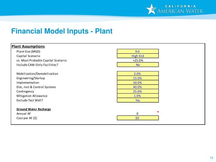 Financial Model Inputs - Plant