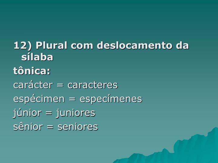 12) Plural com deslocamento da sílaba