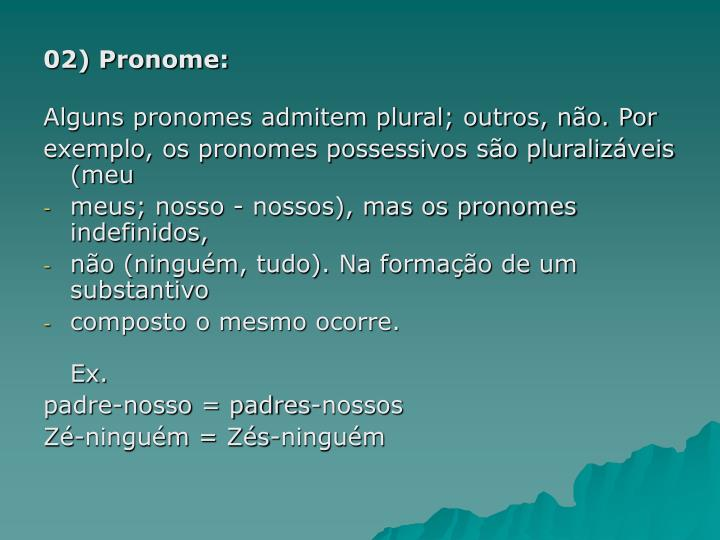 02) Pronome: