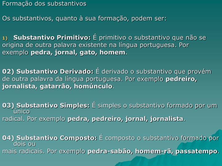 Formação dos substantivos
