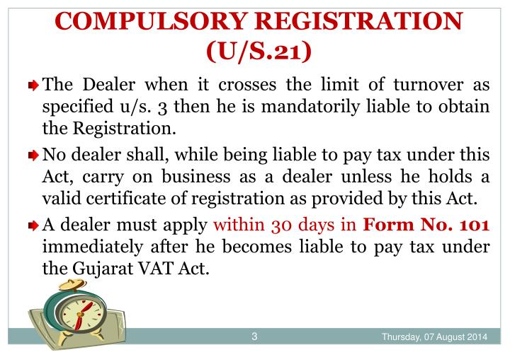 Compulsory registration u s 21