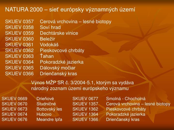 NATURA 2000 – sieť európsky významných území