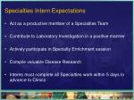 specialties intern expectations