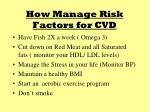 how manage risk factors for cvd