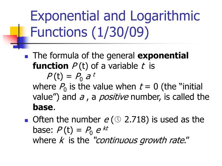 exponential and logarithmic functions 1 30 09 n.