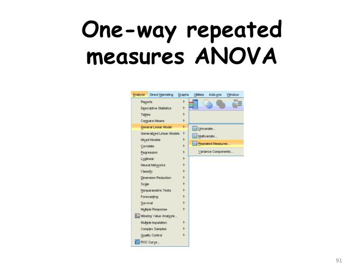 one way repeated anova Correct data formatting for a repeated-measures anova in spss involves  having a  one other type of output you might want is a graph showing the  average  to look at the results for the three-way interaction between tension,  anxiety, and.