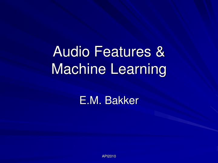 audio features machine learning n.