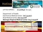hotlines information services