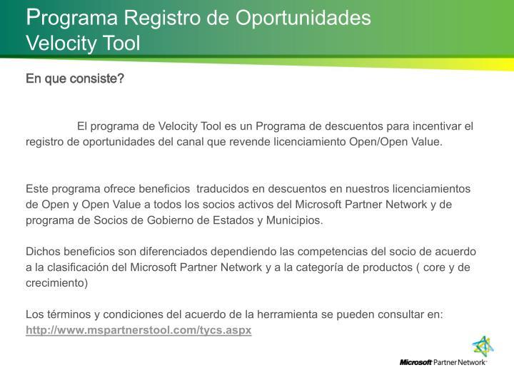 P rograma registro de oportunidades velocity tool