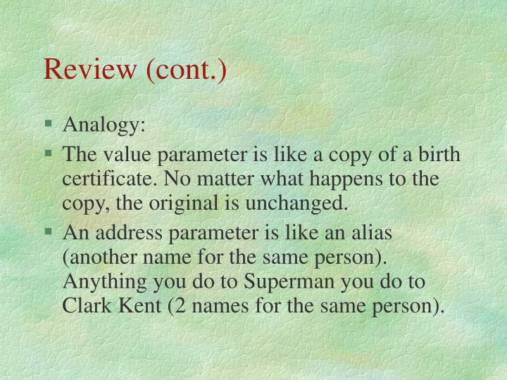 Review (cont.)
