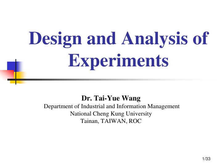 design and analysis of experiments n.