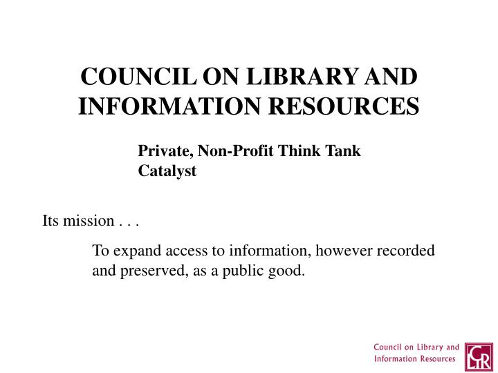 COUNCIL ON LIBRARY AND
