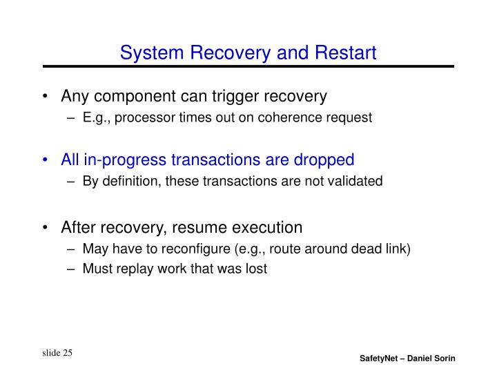 System Recovery and Restart