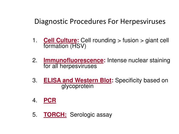 Diagnostic Procedures For Herpesviruses