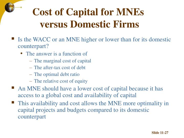 Cost of Capital for MNEs