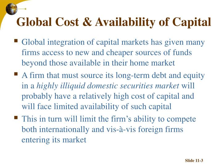 Global cost availability of capital