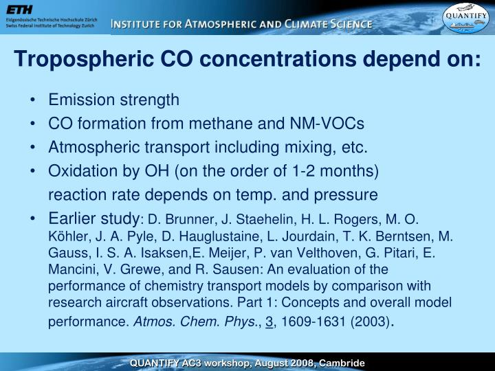 Tropospheric co concentrations depend on