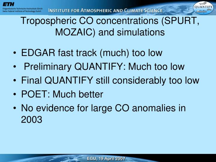 Tropospheric CO concentrations (SPURT, MOZAIC) and simulations