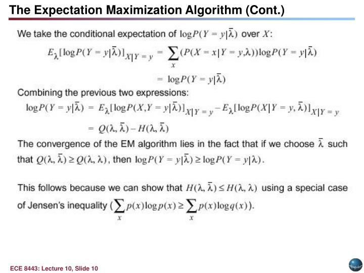 The Expectation Maximization Algorithm (Cont.)