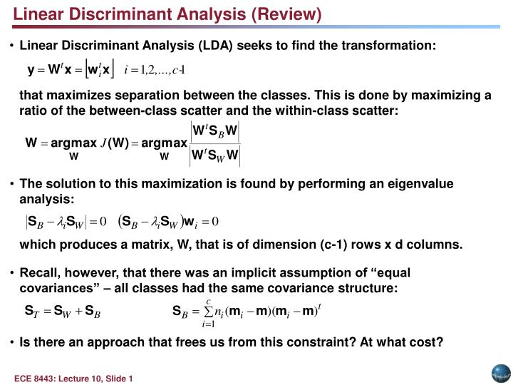 Linear Discriminant Analysis (Review)