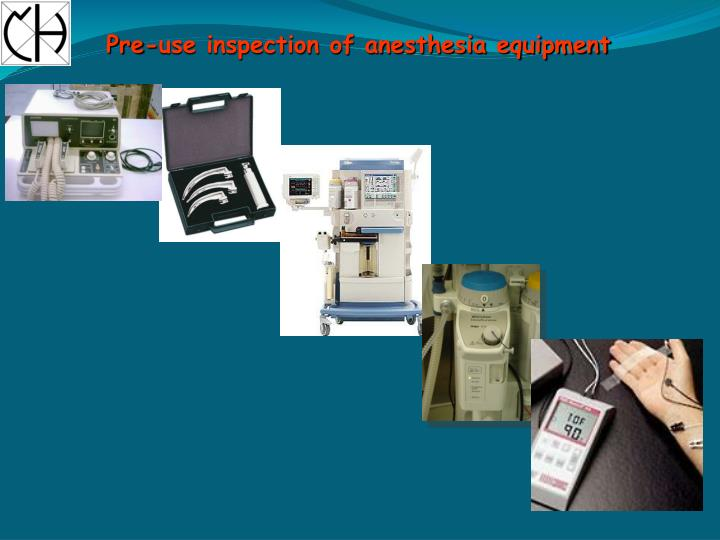Pre-use inspection of anesthesia equipment