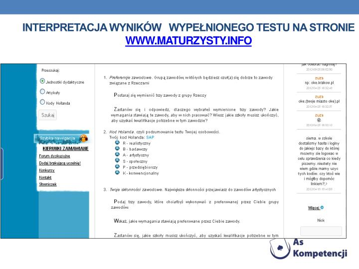 Interpretacja wyników   wypełnionego testu na stronie