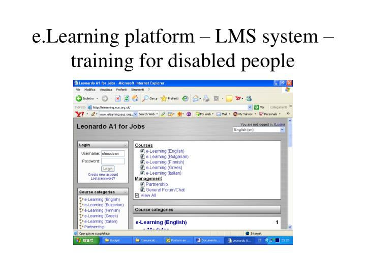 e.Learning platform – LMS system –training for disabled people