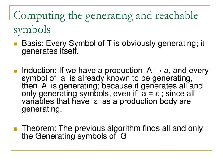 Computing the generating and reachable symbols