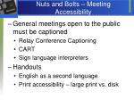 nuts and bolts meeting accessibility