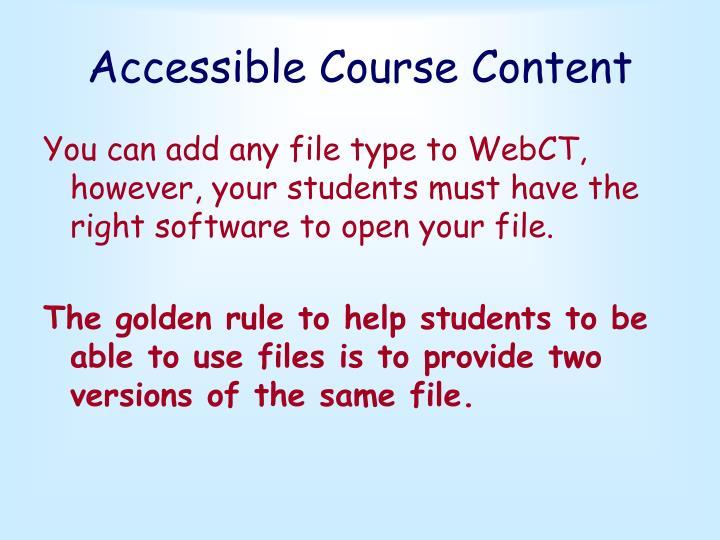 Accessible Course Content