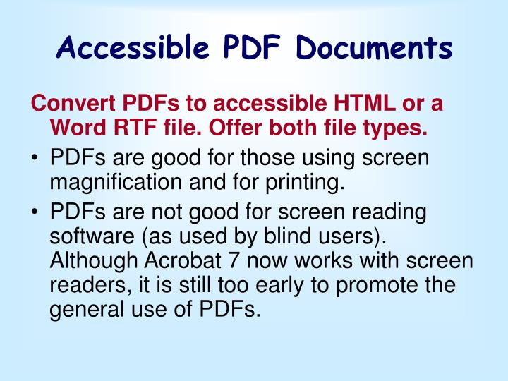 Accessible PDF Documents