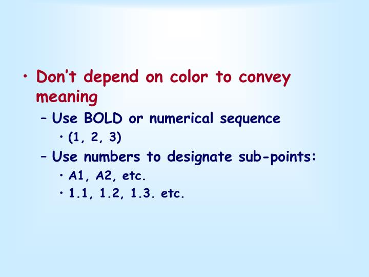 Don't depend on color to convey meaning