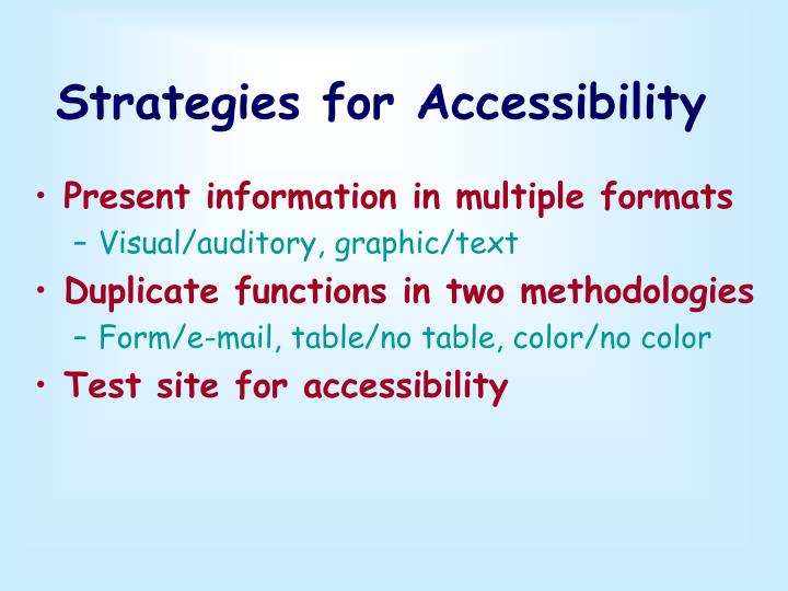 Strategies for Accessibility