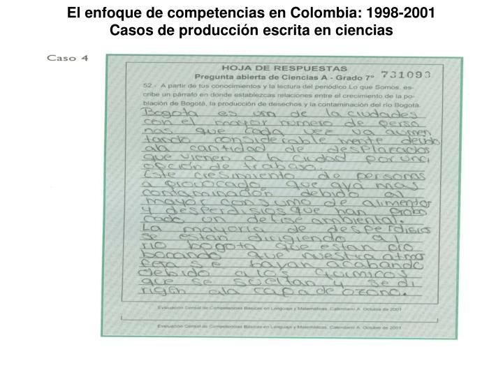 El enfoque de competencias en Colombia: 1998-2001