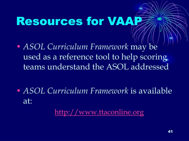 Resources for VAAP