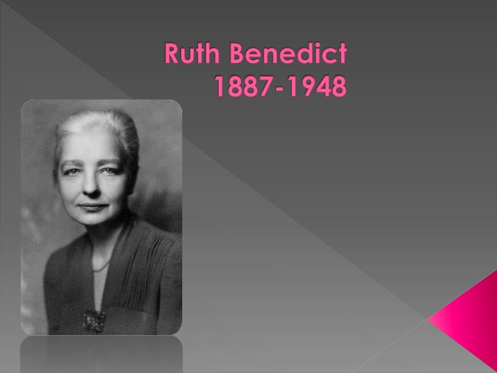 ruth benedict Ruth fulton was born on june 5, 1887, in new york city her early childhood years were spent in the country she did her undergraduate study at vassar college, in poughkeepsie, new york.