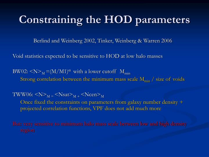 Constraining the HOD parameters