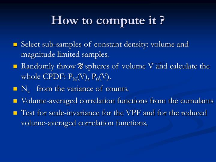 How to compute it ?
