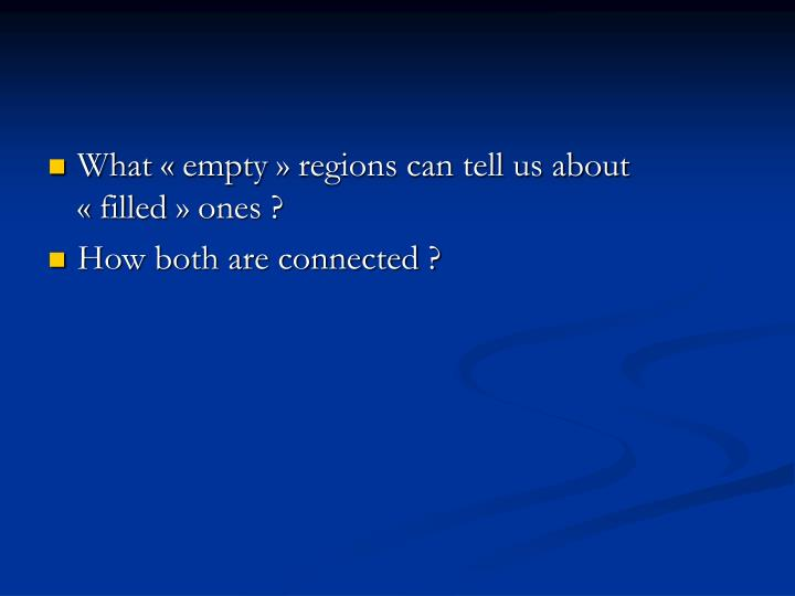 What «empty» regions can tell us about «filled» ones ?