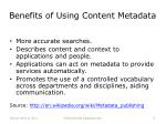 benefits of us ing content metadata