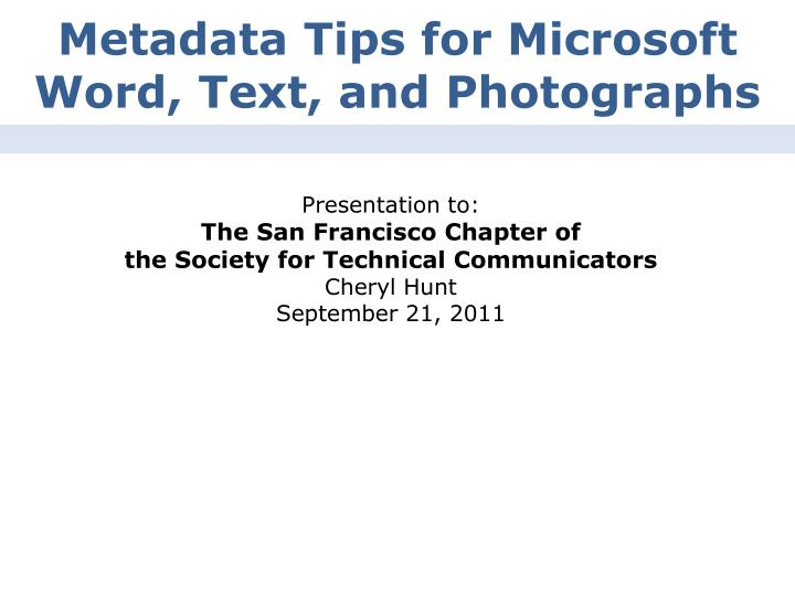 metadata tips for microsoft word text and photographs