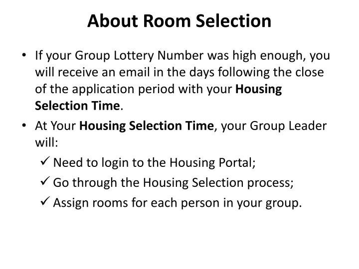 About Room Selection