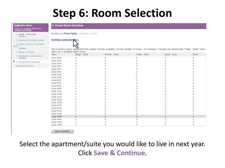 Step 6: Room Selection