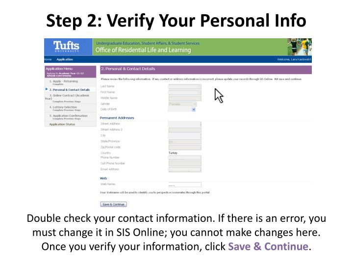 Step 2: Verify Your Personal Info