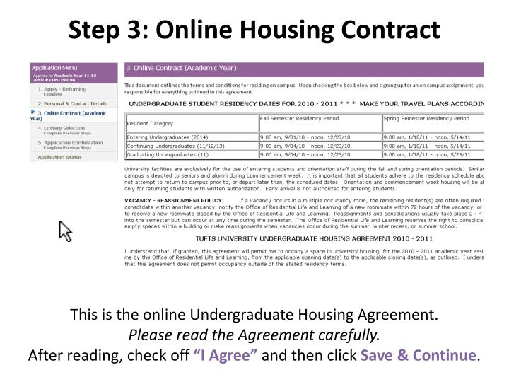 Step 3: Online Housing Contract